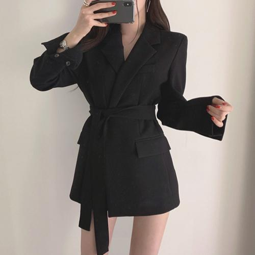 Autumn Winter Women Jackets Office Ladies Lace up Notched Formal Outwear Elegant  White Black Tops