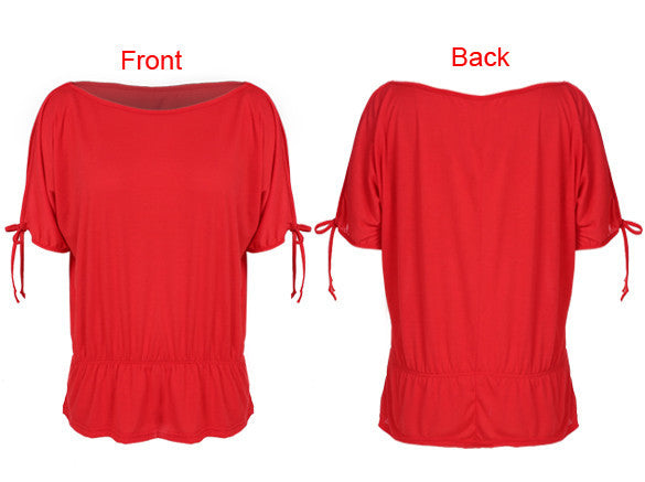 Off Shoulder Solid O-Neck Tunic Blouse Tops - MeetYoursFashion - 4