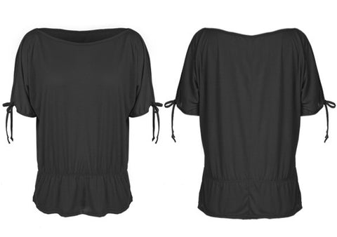 Off Shoulder Solid O-Neck Tunic Blouse Tops - MeetYoursFashion - 5