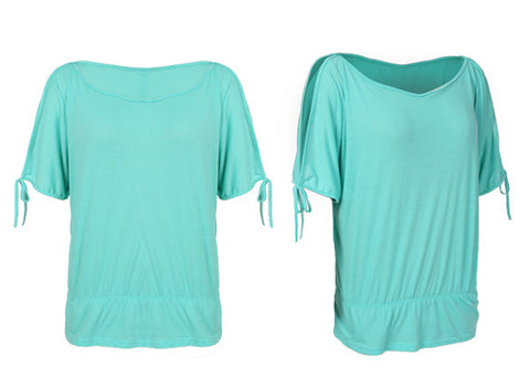 Off Shoulder Solid O-Neck Tunic Blouse Tops - MeetYoursFashion - 6