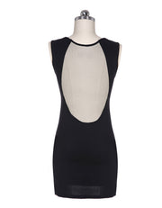 O-neck Mesh Transparent Backless Little Black Club Dess - MeetYoursFashion - 6