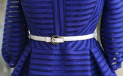 Half Sleeve High Waist Striped Knee-length Sexy Dress with Belt on - MeetYoursFashion - 6