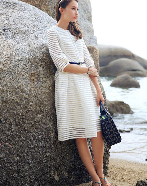 Half Sleeve High Waist Striped Knee-length Sexy Dress with Belt on - MeetYoursFashion - 3