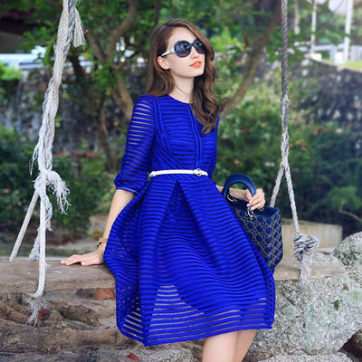 Half Sleeve High Waist Striped Knee-length Sexy Dress with Belt on - MeetYoursFashion - 1