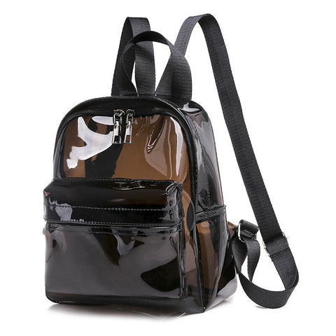 Fashion Women Men Unique Clear Transparent PVC See Through Mini Backpack Cute Fashion Casual Small School Book Shoulder Bag