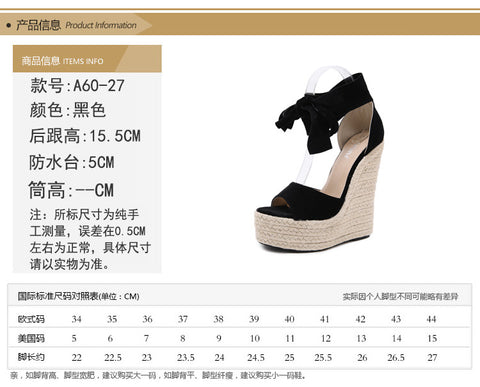 Wedge Platform Ankle Strap Open Toe Sandals