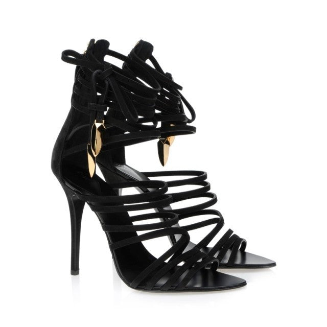 Women's High Heel Gladiator Black Strappy Stiletto Sandals - MeetYoursFashion - 7