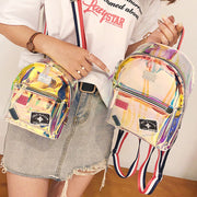 Hot Sale Girls Transparent See Through PVC Mini Backpack Cute School Bags Lovely Cute Laser Jelly Schoolbag