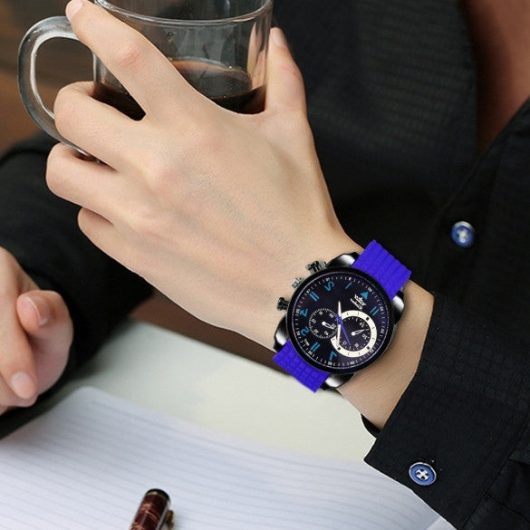 Fashion Men Analog Silicone Watchband Quartz Casual Watch Wristwatch - Meet Yours Fashion - 3