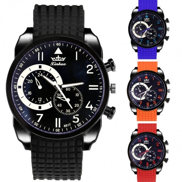 Fashion Men Analog Silicone Watchband Quartz Casual Watch Wristwatch - Meet Yours Fashion - 5
