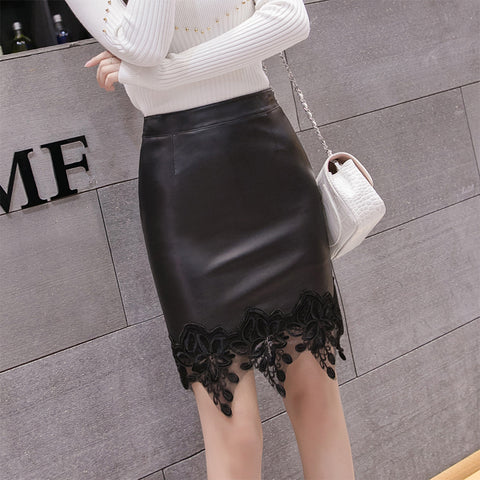 Casual Party Synthetic Leather Lace Skirt
