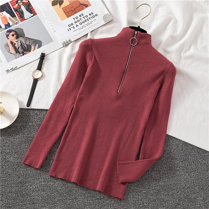 Zipper Half Turtleneck Sweater Women Solid Slim Autumn Winter Clothes Basic Fashion Pullover