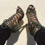 Cage Lace Up Single Sole Heels - Meet Yours Fashion - 6