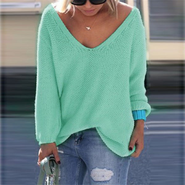 V-neck Loose Knit Pure Color Pullover Sweater - Oh Yours Fashion - 6