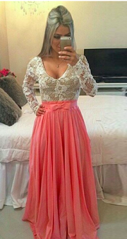Long Sleeve O-neck Sexy Long Lace Prom Dress - MeetYoursFashion - 4