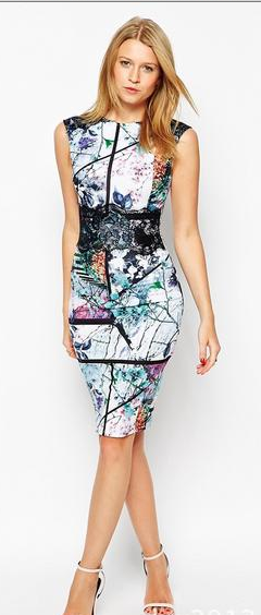 Sexy Digital Print Sleeveless Bodycon A-line Scoop Knee-length Dress - Meet Yours Fashion - 2