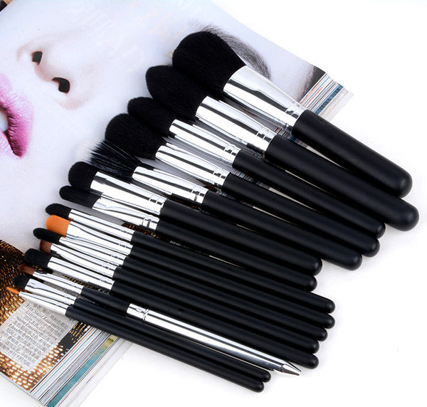 2016 High Quality New Arrival 15 Pcs Black Makeup Brushes Set Cosmetic Kits