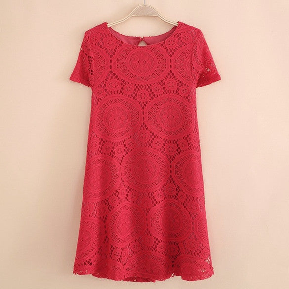 Casual Short Sleeve Loose Hollow Out Short Dress - MeetYoursFashion - 7