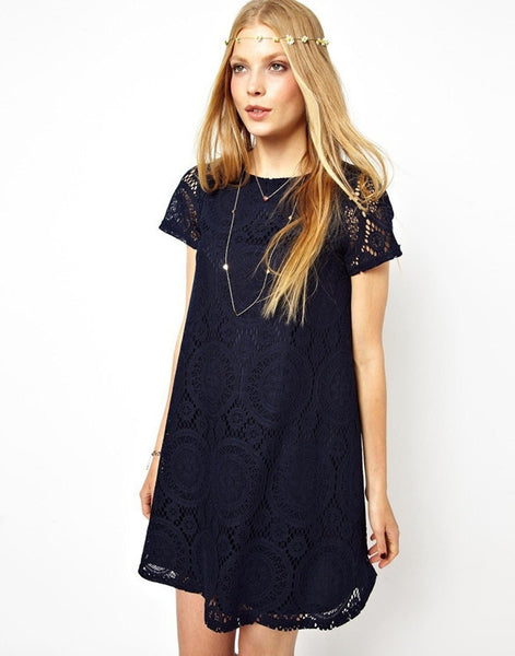 Casual Short Sleeve Loose Hollow Out Short Dress - MeetYoursFashion - 6