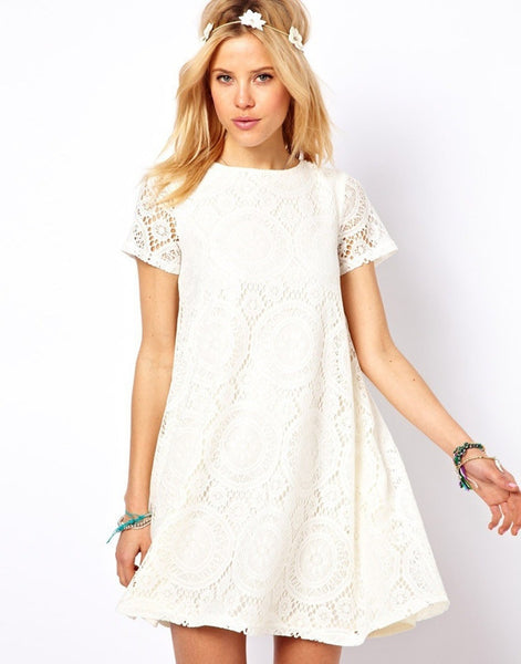 Casual Short Sleeve Loose Hollow Out Short Dress - MeetYoursFashion - 5