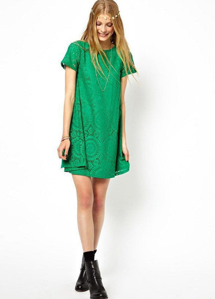 Casual Short Sleeve Loose Hollow Out Short Dress - MeetYoursFashion - 9