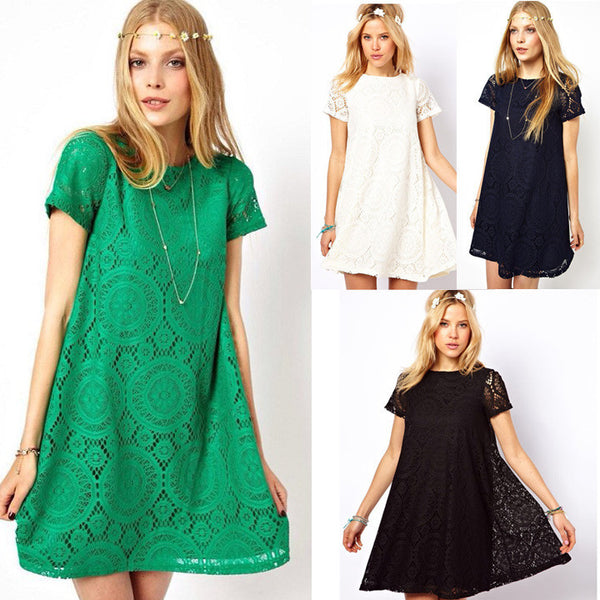 Casual Short Sleeve Loose Hollow Out Short Dress - MeetYoursFashion - 8