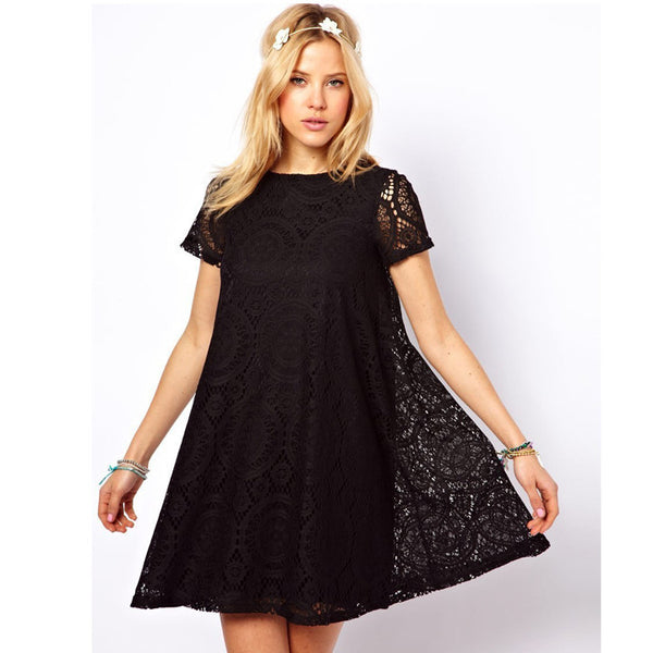 Casual Short Sleeve Loose Hollow Out Short Dress - MeetYoursFashion - 3