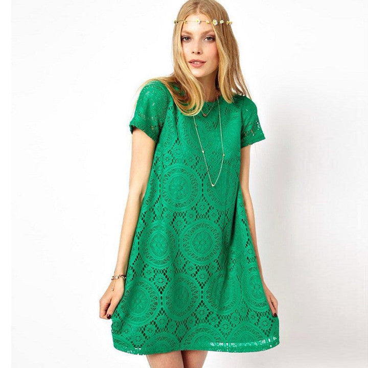 Casual Short Sleeve Loose Hollow Out Short Dress - MeetYoursFashion - 1