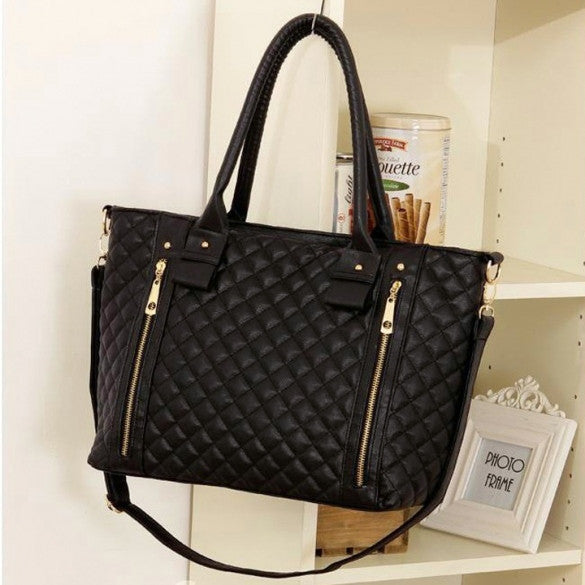 Black Retro Women Office Lady Quilted Shoulder Tote Bag Handbag - Meet Yours Fashion - 1