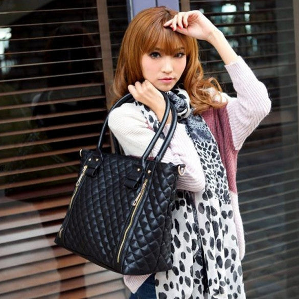 Black Retro Women Office Lady Quilted Shoulder Tote Bag Handbag - Meet Yours Fashion - 2