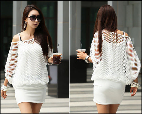 Two Pieces Batwing Mini Dress with Hollow Out Cover - MeetYoursFashion - 4