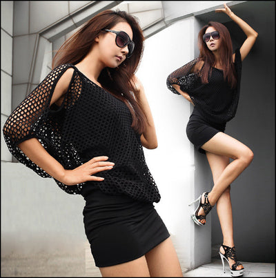 Two Pieces Batwing Mini Dress with Hollow Out Cover - MeetYoursFashion - 1
