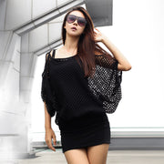 Two Pieces Batwing Mini Dress with Hollow Out Cover - MeetYoursFashion - 5