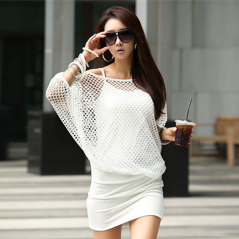 Two Pieces Batwing Mini Dress with Hollow Out Cover - MeetYoursFashion - 3