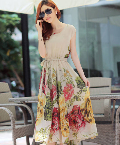 Bohemian Style Short Sleeve Long Chiffon Dress - MeetYoursFashion - 3