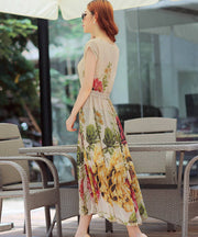 Bohemian Style Short Sleeve Long Chiffon Dress - MeetYoursFashion - 4