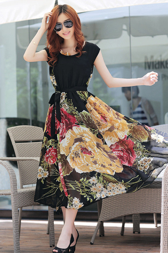 Bohemian Style Short Sleeve Long Chiffon Dress - MeetYoursFashion - 8