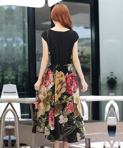 Bohemian Style Short Sleeve Long Chiffon Dress - MeetYoursFashion - 9