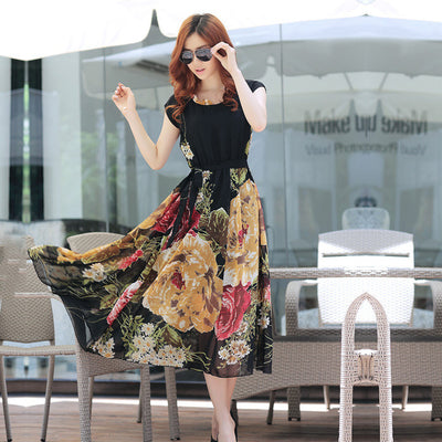 Bohemian Style Short Sleeve Long Chiffon Dress - MeetYoursFashion - 1