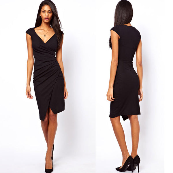 Irregular V Neck Cocktail Knee-length Dress Black - MeetYoursFashion - 1