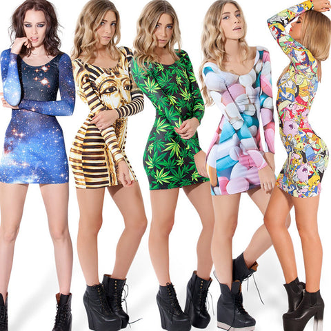 Galaxy Digital Printing Stretch Slim Fit Short Dress - MeetYoursFashion - 1