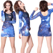 Galaxy Digital Printing Stretch Slim Fit Short Dress - MeetYoursFashion - 4