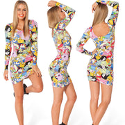 Digital Print Stretch Long Sleeve Slim Fit Tank Dress - MeetYoursFashion - 1