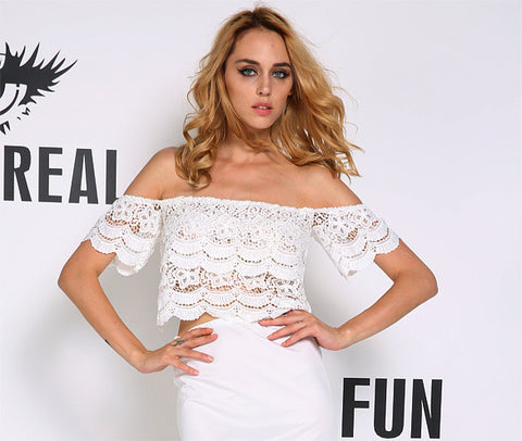Lace Crochet Off-Shoulder Tee Shirt Blouse - MeetYoursFashion - 3