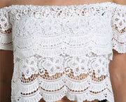Lace Crochet Off-Shoulder Tee Shirt Blouse - MeetYoursFashion - 4