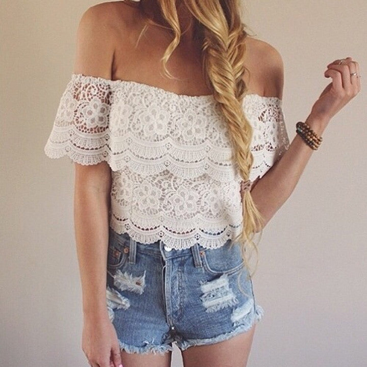 Lace Crochet Off-Shoulder Tee Shirt Blouse - MeetYoursFashion - 1