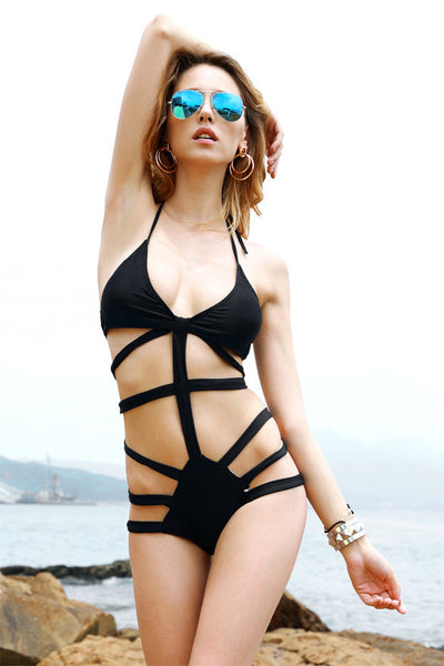 One Piece Bandage Cut Out Push Up Padded Monokini Bikini - MeetYoursFashion - 4