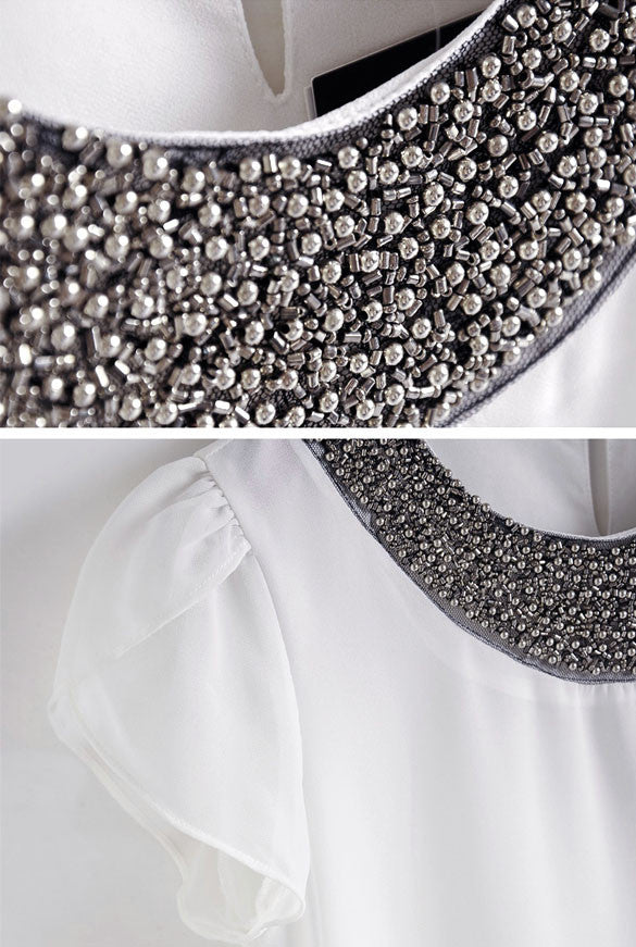Embellished Bead Neckline Lotus Leaf Chiffon Blouse - MeetYoursFashion - 5
