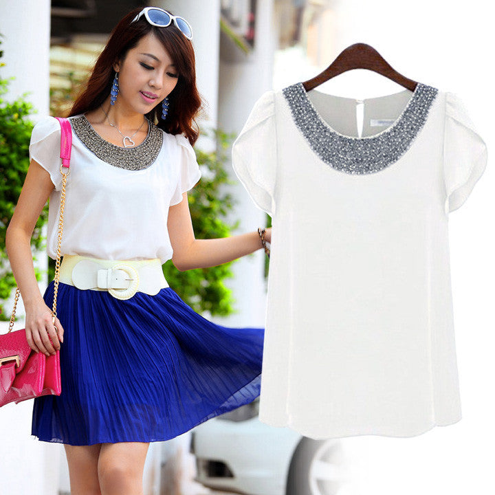 Embellished Bead Neckline Lotus Leaf Chiffon Blouse - MeetYoursFashion - 2