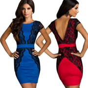 Celeb Style Lace Splicing Slim Fitted Short Bodycon Dress - MeetYoursFashion - 1